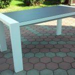 Stół drewniany GRZEŚ BIAŁY z blatem kamiennym