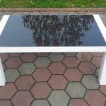 Stół drewniany GRZEŚ ze szkłem lakobel