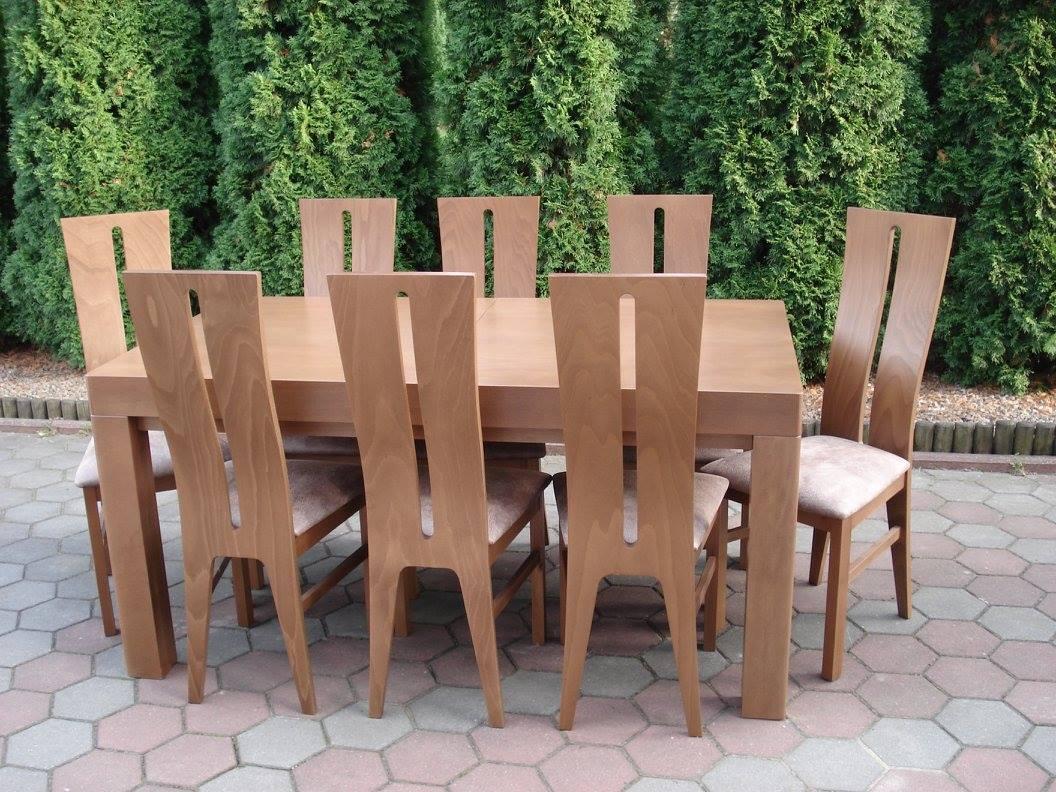 Stół drewniany WOJTEK z nogą frezowaną + krzesła drewniane MILANO