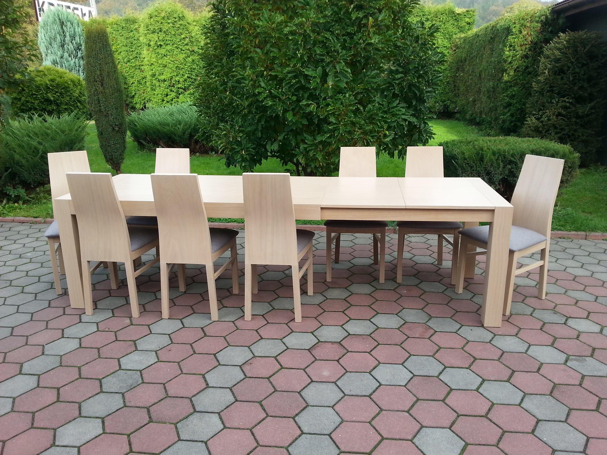 Stół drewniany GRZEŚ + krzesła drewniane Jasiek dębowe, komplet dębowy