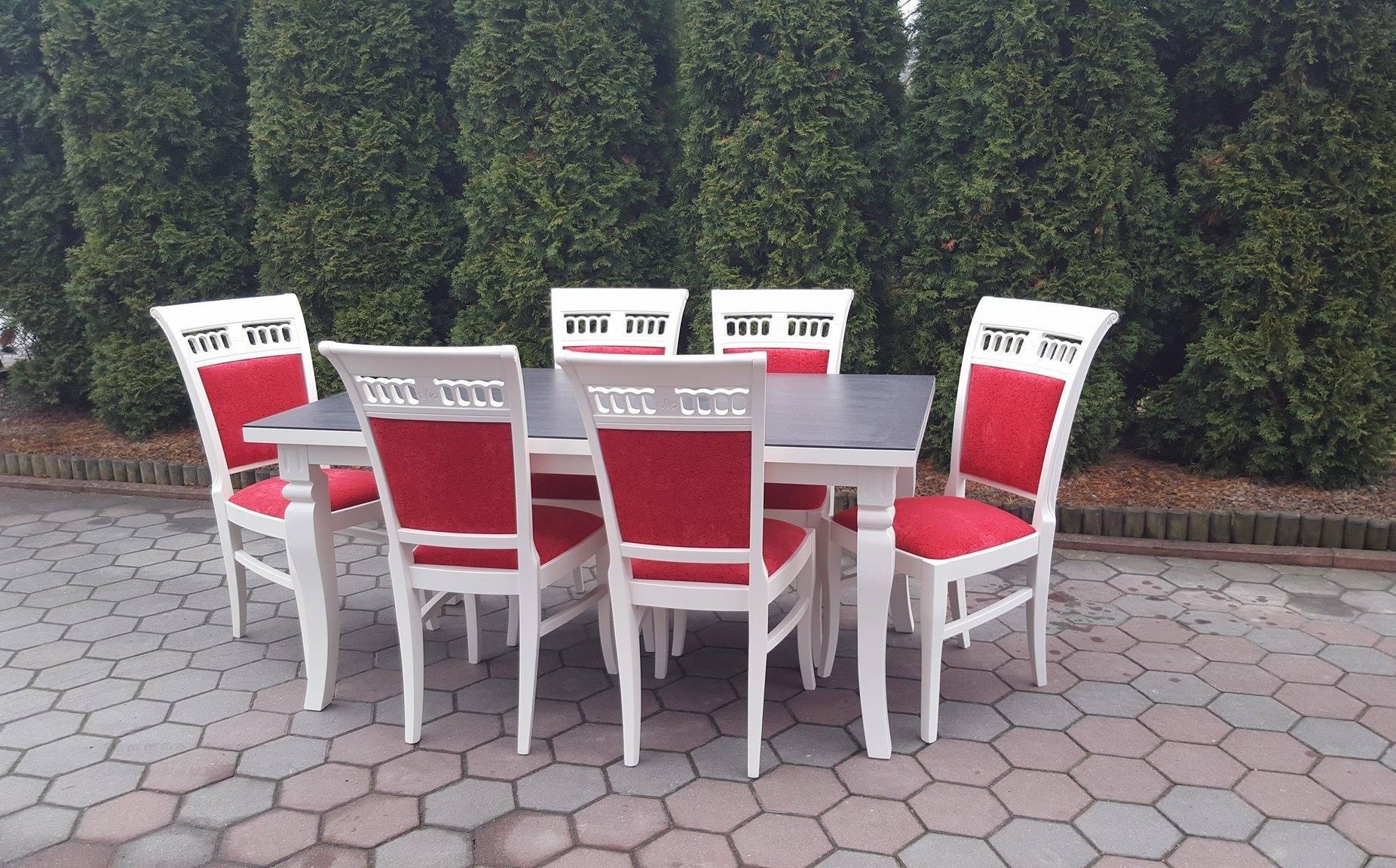Stół drewniany KAMIL+ krzesła drewniane TULIPAN