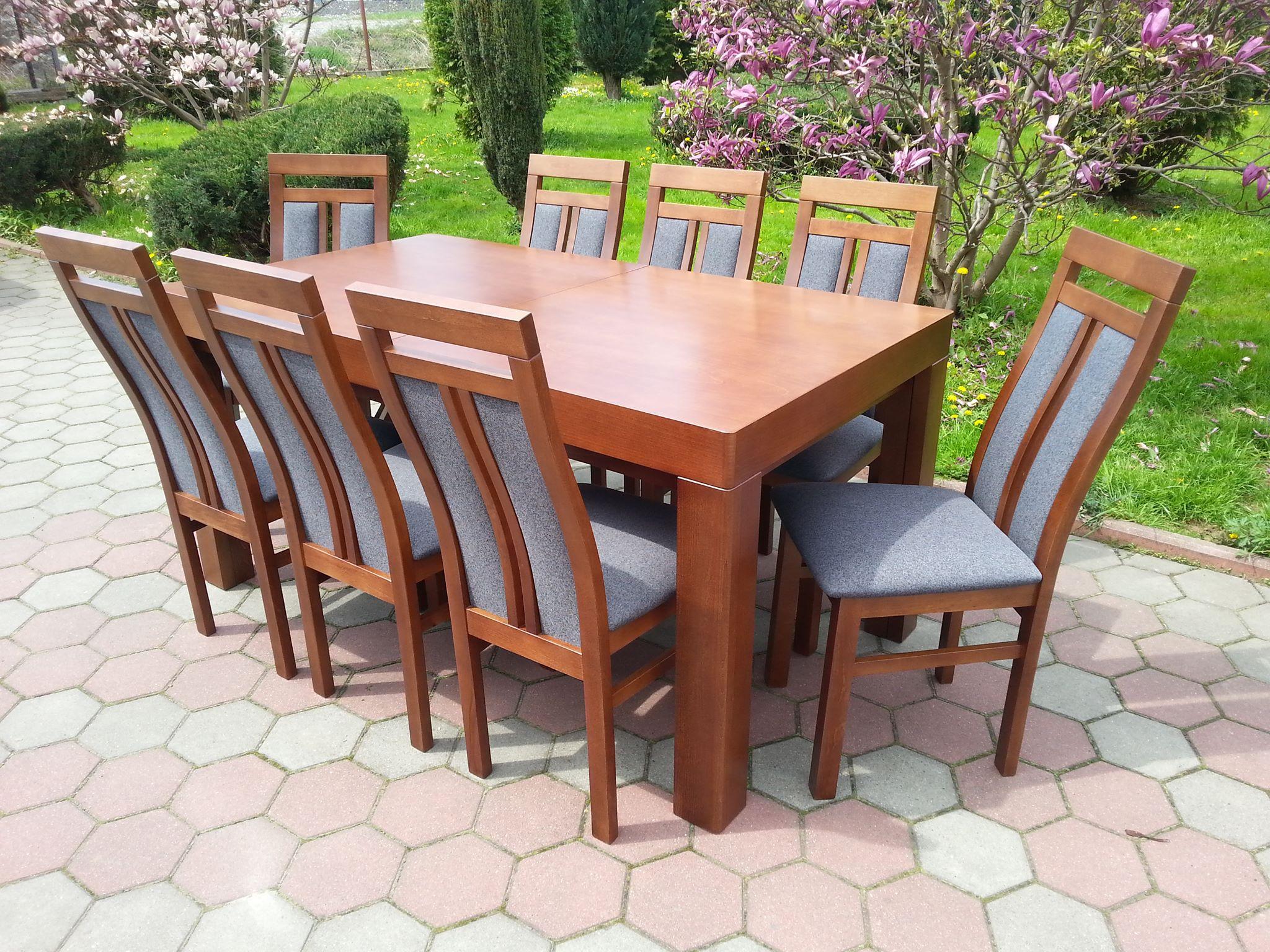 Stół drewniany WOJTEK frezowany + krzesła drewniane WERONA